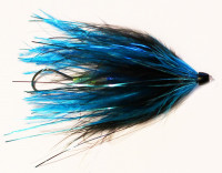 Black and Blue Tube Fly with Trailing Ostrich Plume - Product Image