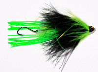 Wiggle Leg Intruder Tube Fly with Cross-Eyed Cone - Black/Chartreuse - Product Image