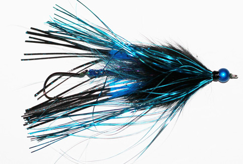 Steelhead Squid Series Fly (Rubber Legs, Black/Blue)