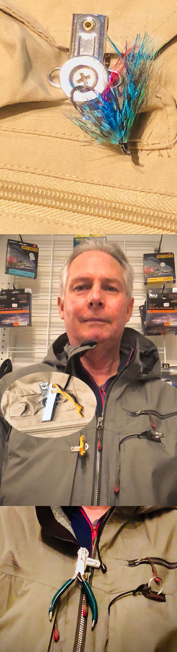 Examples of magnetic clip on fishing jacket or vest.