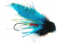 Bullhead Leech, Black/fluor. Barred Blue/Chartreuse - Product Image