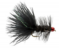 Hot Head Woolly Bugger TB Black and Metallic Red - Product Image
