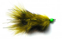 Marabou Tail Bugger Moal, Olive Barred/Chartreuse Bead - Product Image